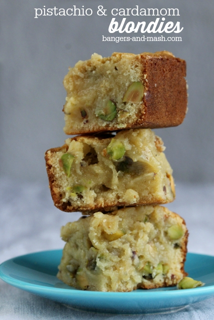 Blondies with pistachio and cardamom