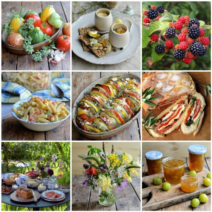August Patchwork Quilt of Seasonal Recipes, Flowers & Ingredients