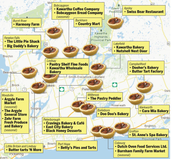 Map of Butter Tarts in Ontario