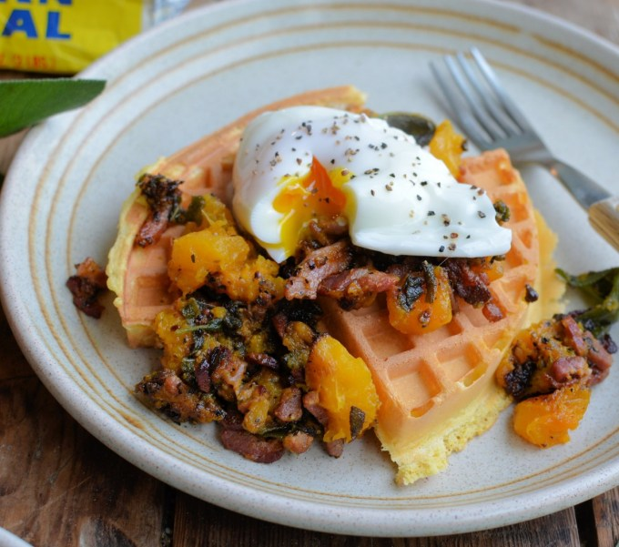 Cornmeal Waffles with Bacon, Sage & Pumpkin Compote