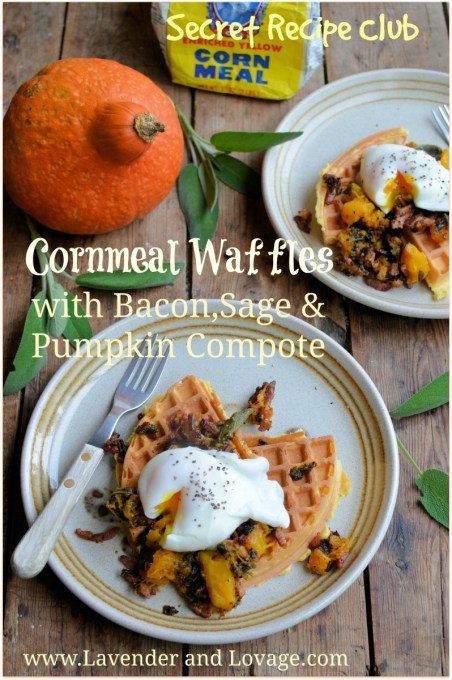 Cornmeal Waffles with Eggs, Bacon, Sage & Pumpkin Compote