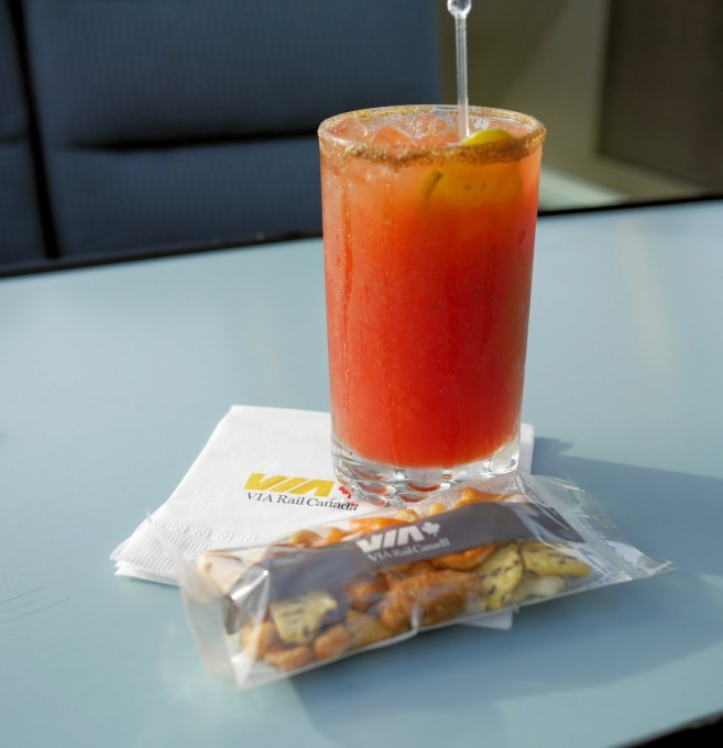 A Caeser Cocktail in the Dome Car
