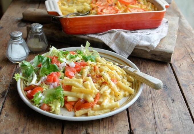 Healthy Three Cheese Macaroni Cheese Gratin