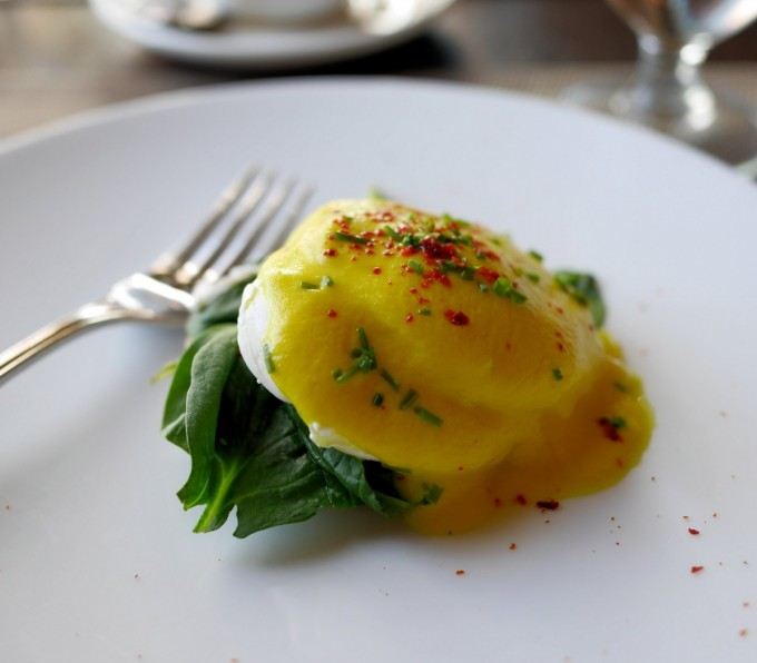 """Kevin's signature dish of POACHED EGG WITH VEGETABLE """"HOLLANDAISE"""" SAUCE"""