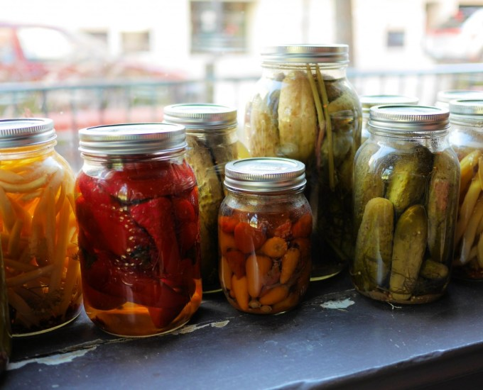 Pickles in the window of The Peasant restaurant in Winnipeg