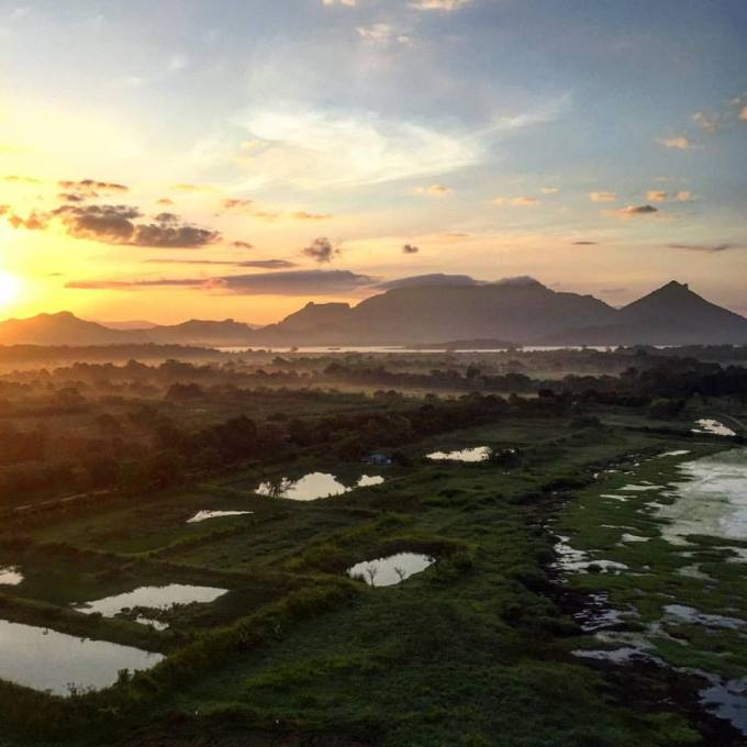 View over Sigiriya Rock and surrounding countryside from the hot air balloon