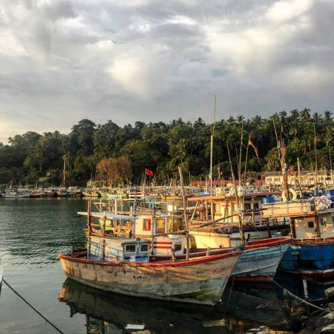 Fishing boats in Mirissa Harbour
