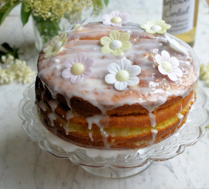 Bramley Apple Cake with Lemon Curd and Elderflower Drizzle Icing