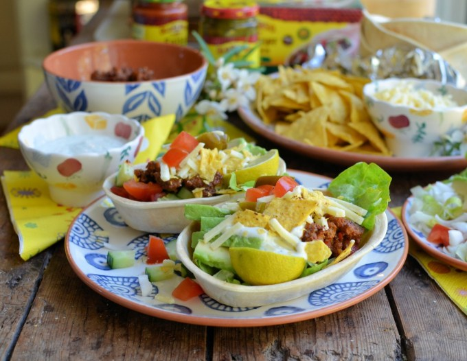 Mexican Beef Layered Salad Taco Bowls