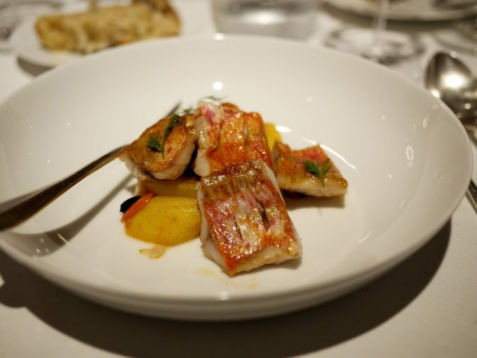 Red Mullet at the 1 Star Michelin Restaurant hotel L'Imaginaire