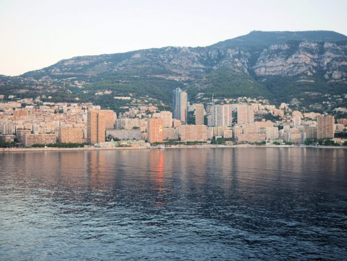 Sailing into Montecarlo, Monaco at dawn