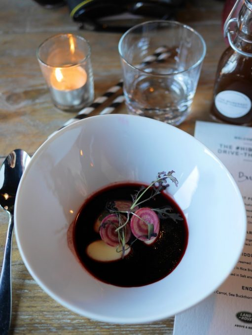 Westcombe Cheese Dumplings with Smoked Beetroot and Sloe Broth and Black Mustard