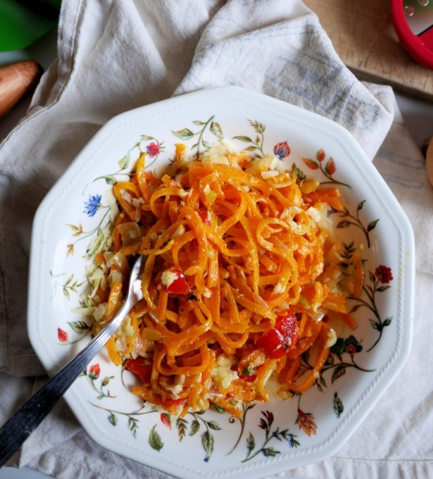 Butternut Squash Spaghetti with Peppers, Shallots and Pine Nuts