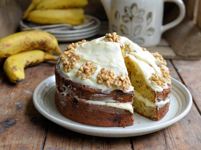 Iced Buttercream Banana Bread Cake with Walnuts