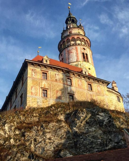 Trompe l'œil detail on the Castle Tower in Český Krumlov