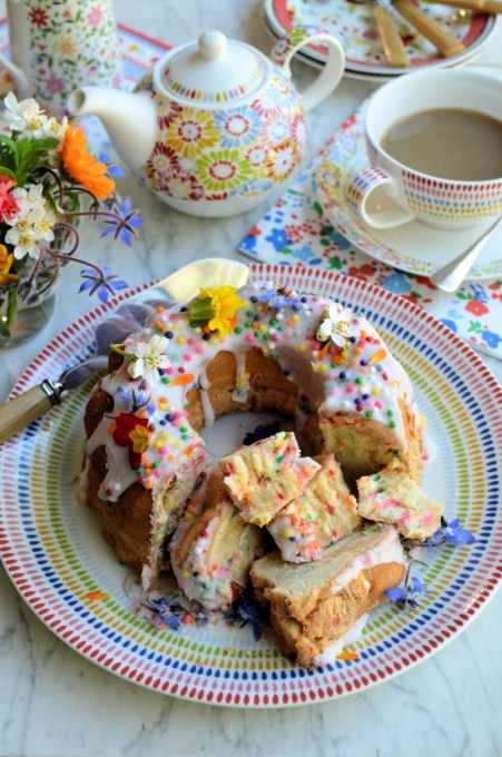 "Confetti ""Funfetti"" Chiffon Cake for Easter Sunday Tea - This delightful rainbow speckled cake looks bright and cheerful, is fun and tastes delicious!"