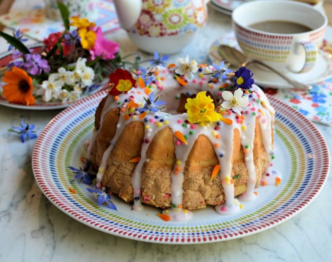 """Confetti """"Funfetti"""" Chiffon Cake for Easter Sunday Tea - This delightful rainbow speckled cake looks bright and cheerful, is fun and tastes delicious!"""
