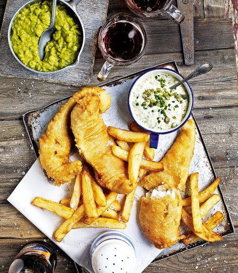 Beer-battered fish and triple-cooked chips