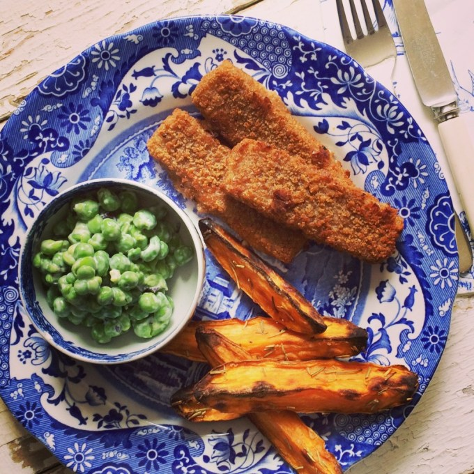 Fish Fingers and Sweet Potato Chips