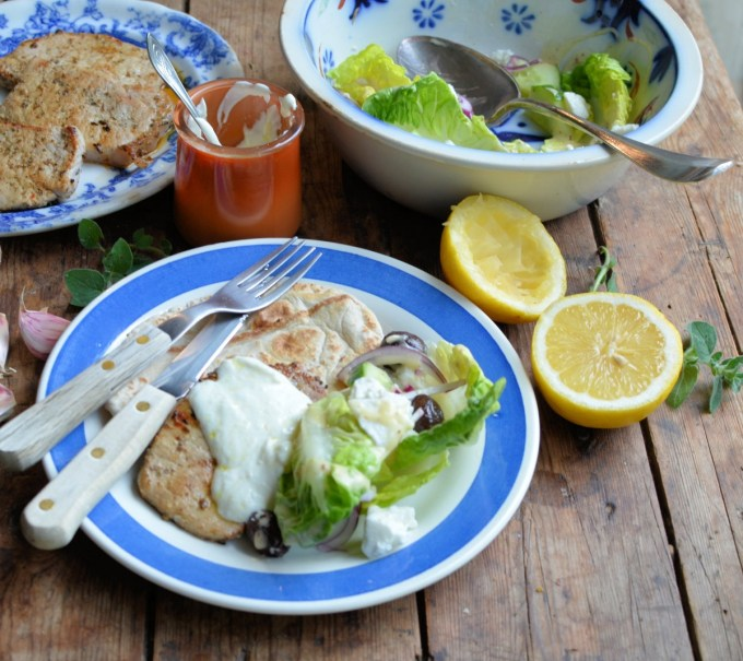 Greek Style Pork Steaks with Garlic Yogurt Sauce