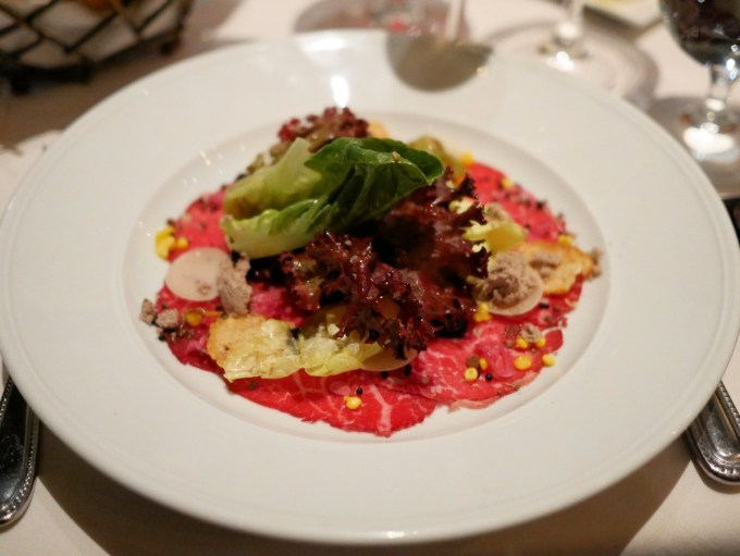 Prime Beef Carpaccio Salad (with chocolate olive oil vinaigrette, cocoa nibs and Pinot gel)