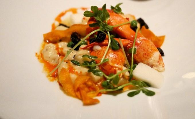 White Chocolate Poached Maine Lobster (with Black Truffle Gnocchi and Meyer Lemon Foam)