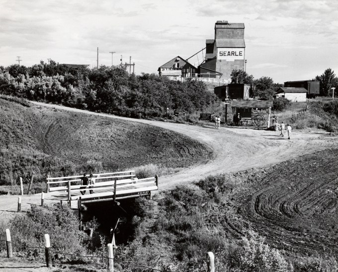 Searle Grain Company elevator, 1955, in what is believed to be St. Louis, Saskatchewan.
