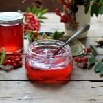 """Rowan and Apple Jelly - A deliciously smoky, tangy and jewel-like jelly that goes perfectly with game, lamb, cheese and charcuterie. Made from """"free"""" foraged berries."""
