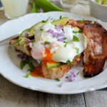 Avocado, Egg and Bacon Toast with Chive Flowers