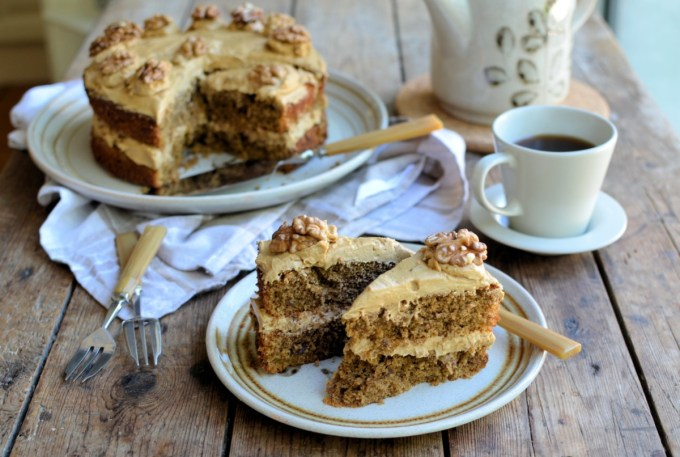 I remember a wonderful old tea room in Yorkshire, near to where I used to live – they always had a least four home-made cakes on offer, of which a grand coffee walnut cake would be sitting amongst a fresh orange cake, chocolate cake and always a farmhouse fruit cake or Dundee cake. Although I was always tempted by the fresh orange cake, it was invariably a slice of coffee walnut cake that made its way to my table with a pot of tea of cup of coffee.