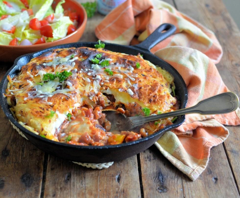 Easy One-Pan Enchilada Pie