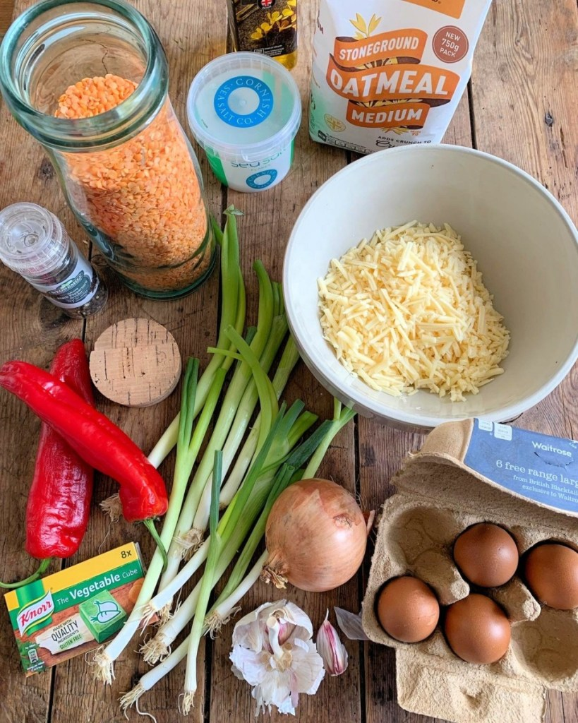 Cheese & Lentil Slice Ingredients