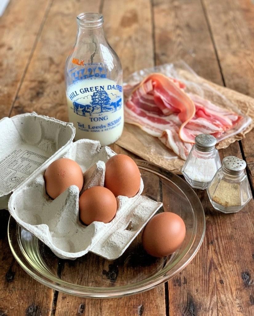 Egg & Bacon Flan Ingredients