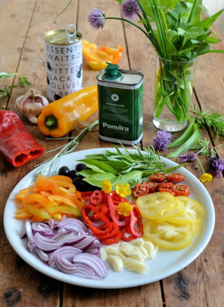 Sourdough Focaccia Garden Ingredients