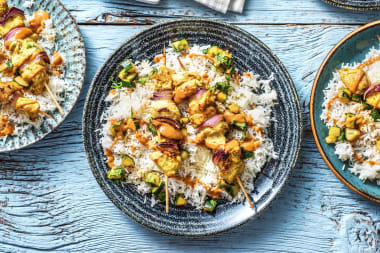 Chicken Satay Kebabs with Basmati Rice and Cucumber Salad
