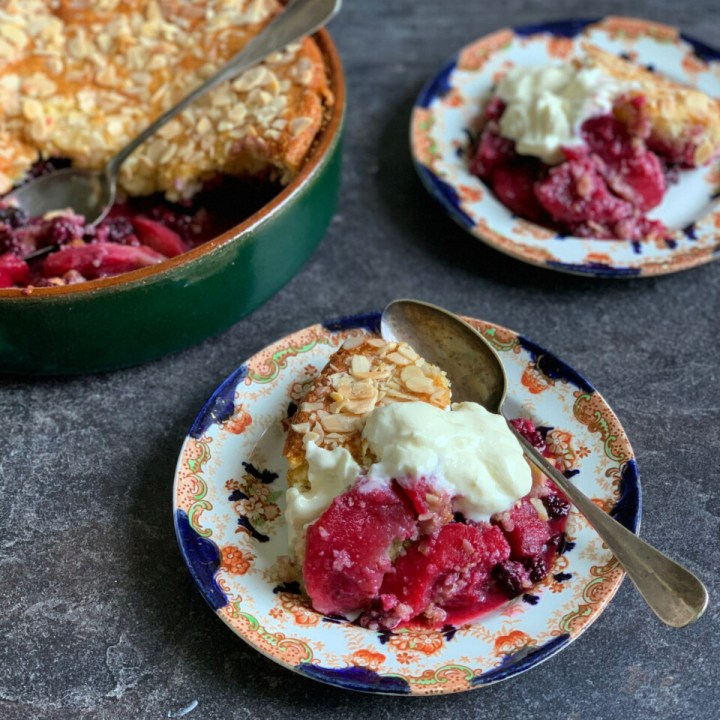 Eve's Pudding with Blackberries & Apples