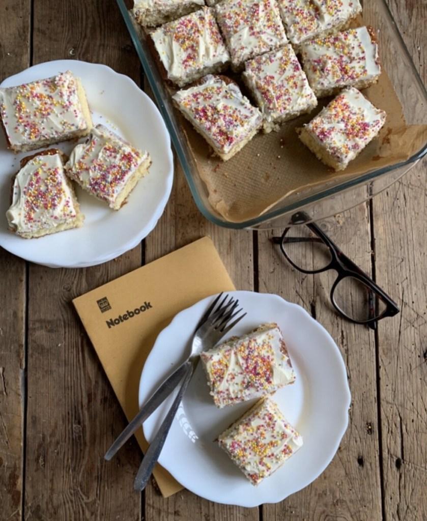 Retro School Dinners Iced Tray Bake Cake
