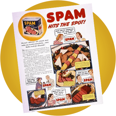 Whatever you may hear, no 'scrapings' or 'useless bits' of pork or ham have ever found their way into SPAM® products. High quality pork shoulder meat and ham (actually hand cut off the bone) are ground together with water, a little sugar, salt and spice to be cooked in the can to seal in the goodness. Very small amounts of stabilisers and preservatives are added