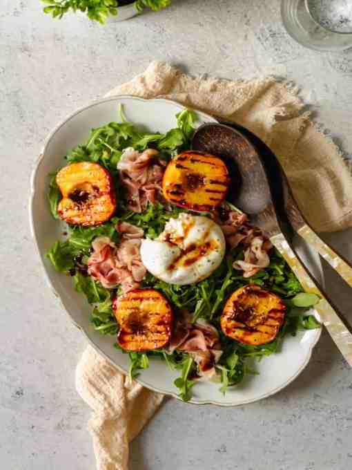 Prosciutto, Burrata and Grilled Peach Salad