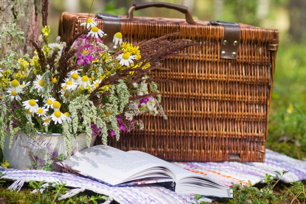 Picnic Basket and Flowers