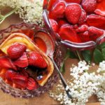 Strawberries and Flowers for Tea – Strawberry & Elderflower Cake and Tart Topping