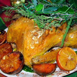 Historical Roast Turkey Recipe: Gilded Saffron & Butter Basted Turkey with Herb Garland