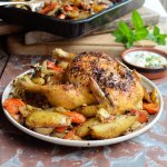 Dukkah Crusted Roast Chicken with Mint & Yoghurt Sauce