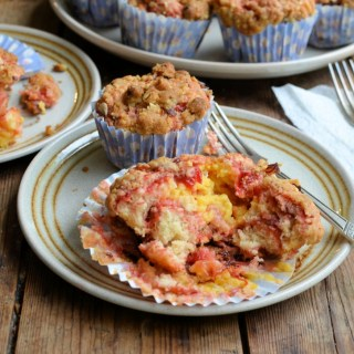 Rhubarb & Custard Muffins with Hazelnut Crunch Crumble Topping