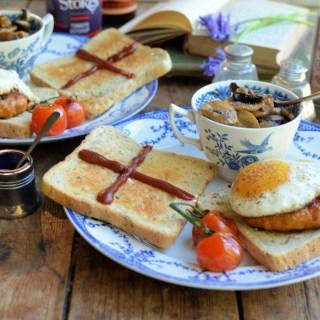 St George's Mushroom & Egg Sausage Burger on Toast