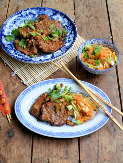 BBQ Bulgogi Beef with Asian Slaw