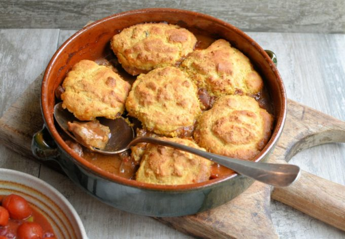 Welsh Lamb Cornbread Cobbler - A slightly kicked-up spicy lamb stew using PGI Welsh Lamb with a baked cornbread cobbler topping, perfect for a Winter's Day!