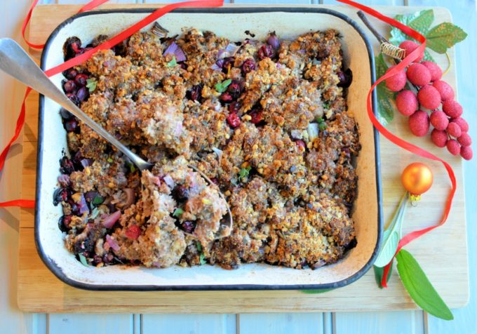 Sausage, red onion and walnut stuffing with cranberries