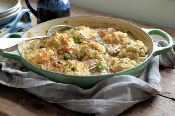 Welsh Leek & Chicken Casserole with Baked Herb Dumplings