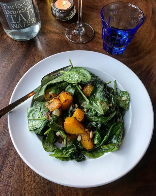 Roasted squash, toasted pine nut & wilted spinach salad,